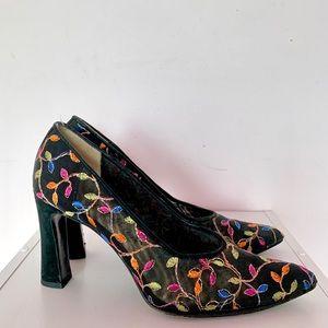 Mesh floral heels
